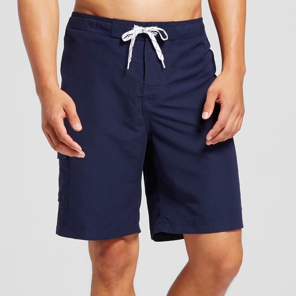Mens Solid Swim Trunks Navy (Blue) L - Merona