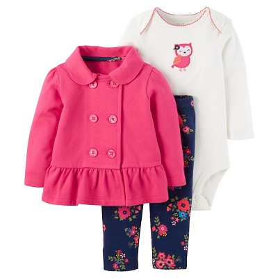 Just One You™ Made by Carter's® Baby Girls' 3pc Cardigan Set - Pink Floral Owl 12M