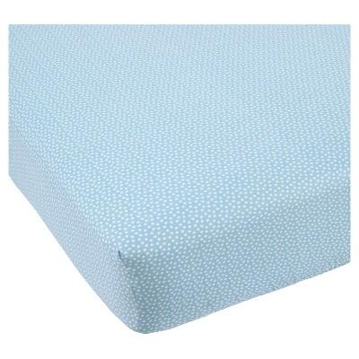 Balboa Baby Cotton Sateen Fitted Crib Sheet - Aqua & White Dot
