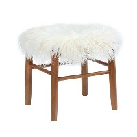Faux Fur Accent Stool - White - Threshold. opens in a new tab.
