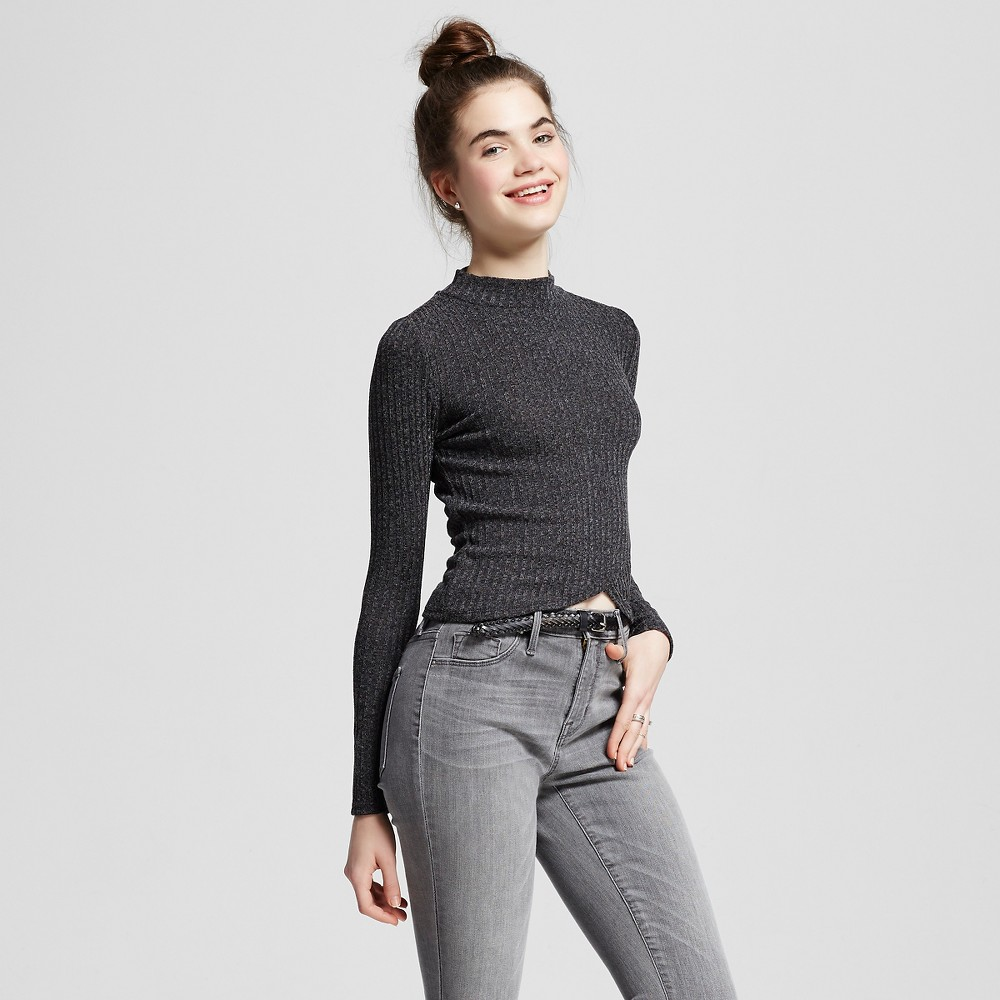 Women's Rib Mock Neck Sweater Jet Black L - Self Esteem (Juniors')