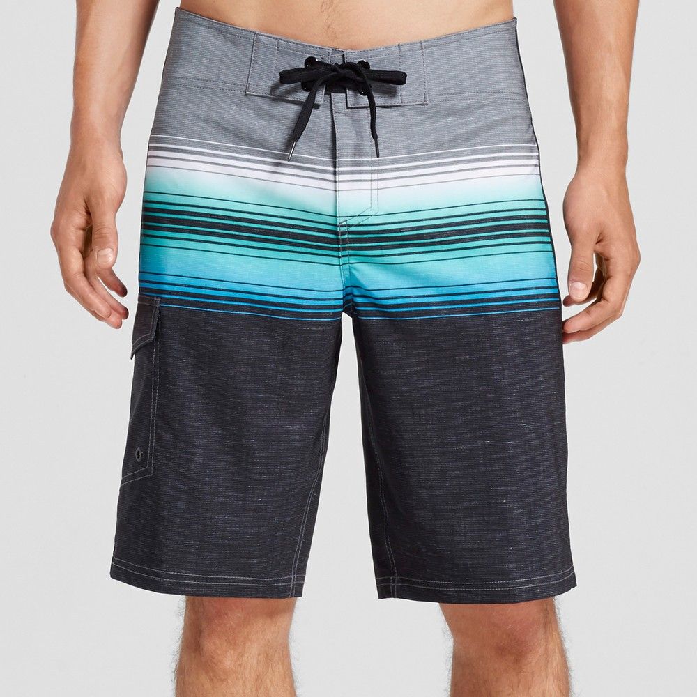 Mens Board Shorts Ombre Stripe Blue 34 - Mossimo Supply Co.