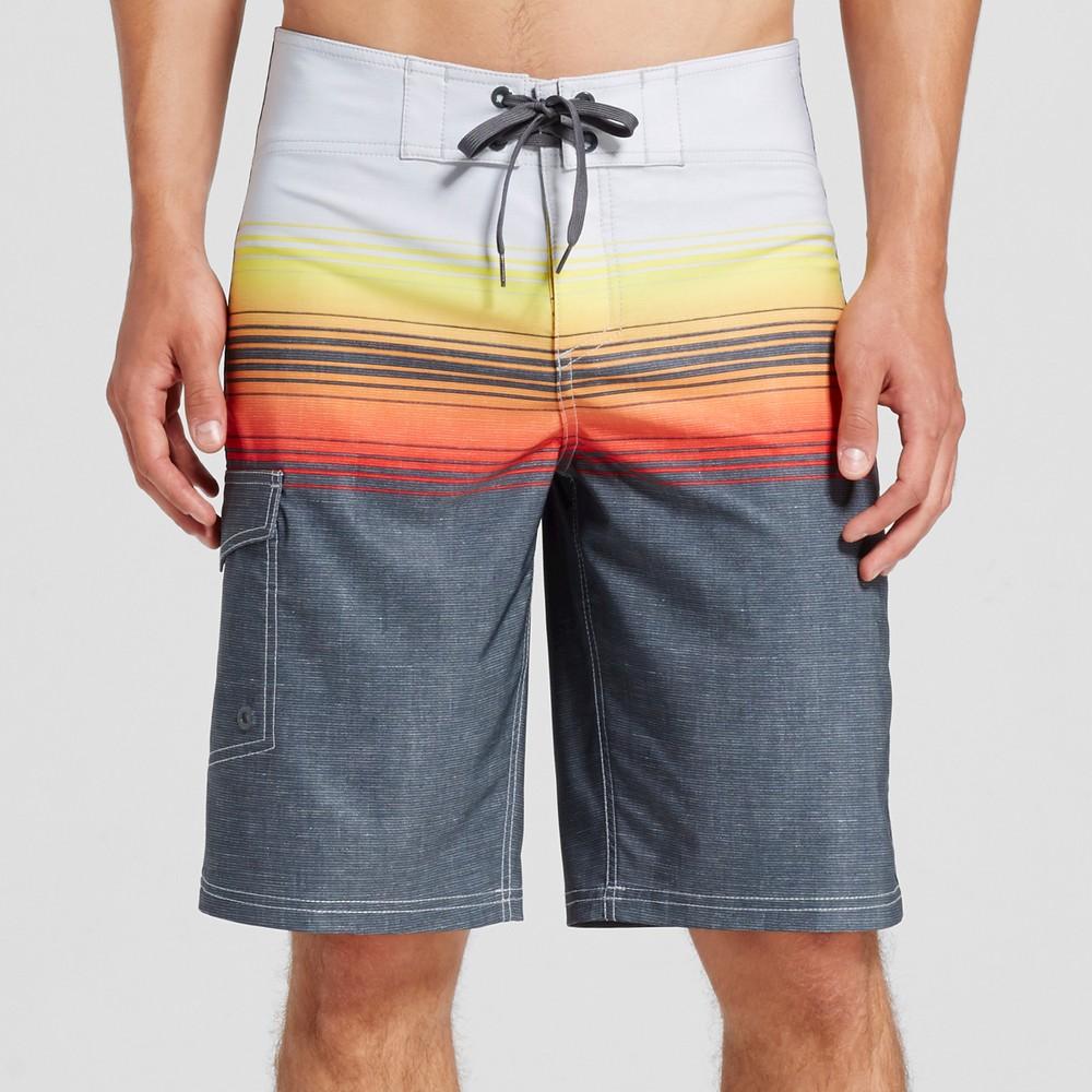 Mens Board Shorts Ombre Stripe Orange 36 - Mossimo Supply Co.