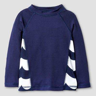 Baby Boys' Wave Print Long Sleeve Rash Guard - Cat & Jack™ Navy 9M