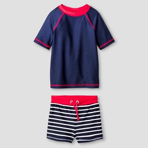 Toddler Boys' Solid & Stripe Rash Guard and Swim Trunk Set Cat & Jack - Navy 2T, Toddler Boy's, Blue
