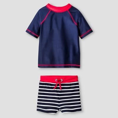 Baby Boys' Solid & Stripe Rash Guard and Swim Trunk Set - Cat & Jack™ Navy 9M