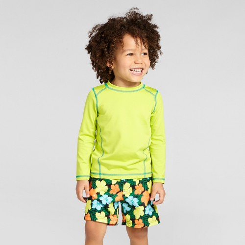 Toddler Boys' Long-Sleeve Rash Guard Cat & Jack - Neon Yellow 4T, Toddler Boy's, Green