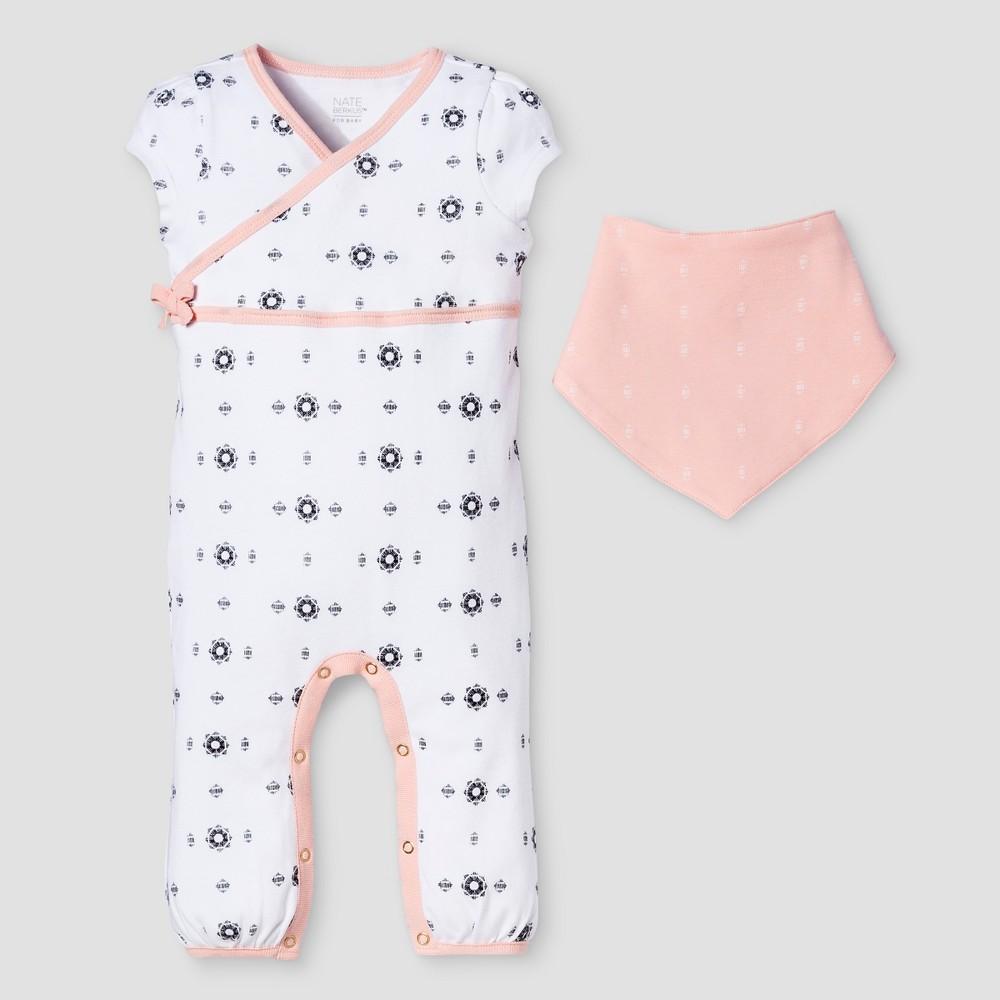 Baby Girls 2-Piece Romper & Bib Set Nate Berkus - White/Peach 3-6M, Size: 3-6 M, Orange