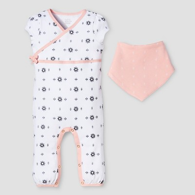 Baby Girls' 2-Piece Romper & Bib Set Nate Berkus™ - White/Peach 6-9M