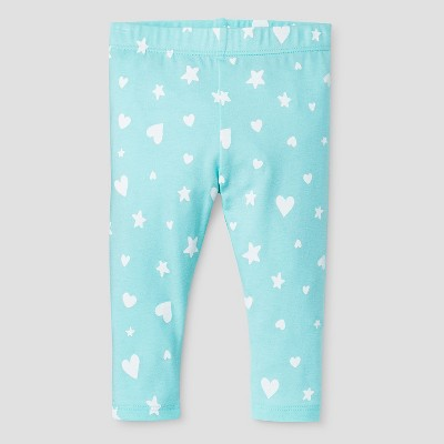 Baby Girls' Heart Star Leggings Baby Cat & Jack™ - Aqua NB
