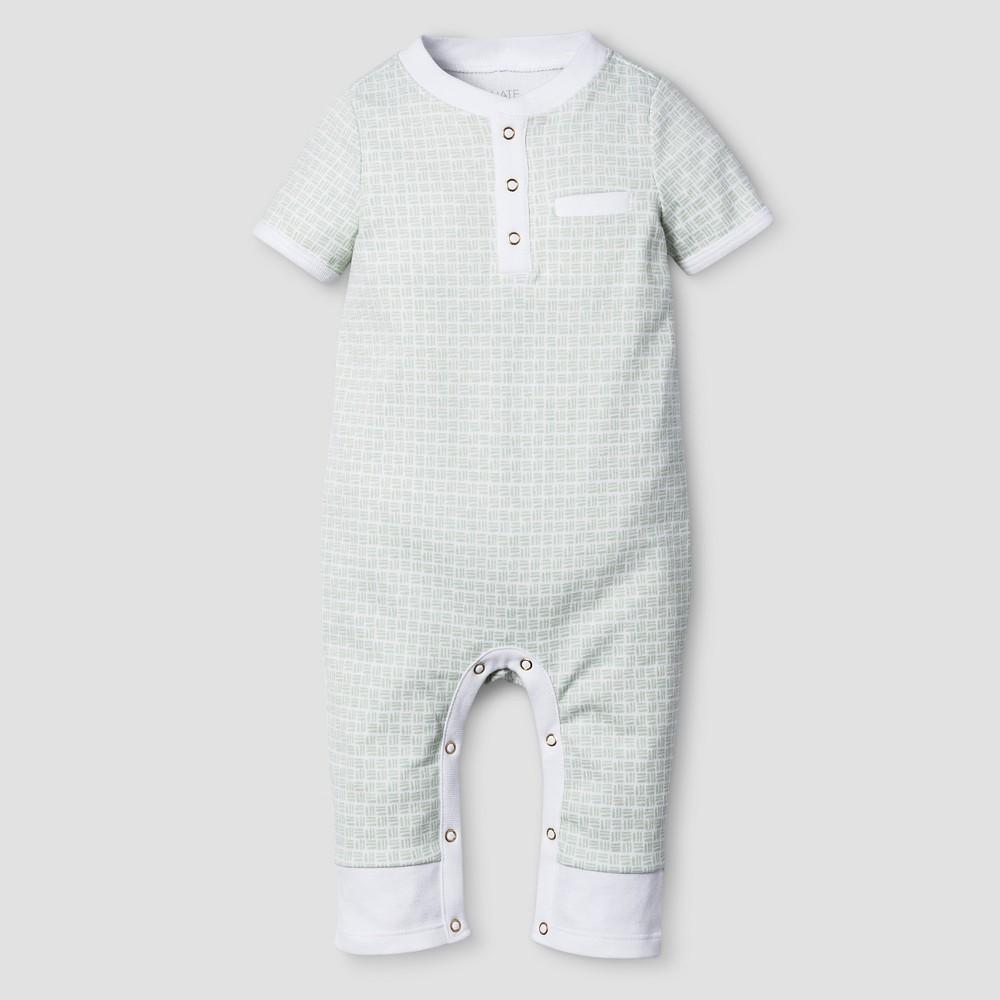 Baby Boys' Short Sleeve Romper Nate Berkus – White/Sage 12M, Infant Boy's, Size: 12 M