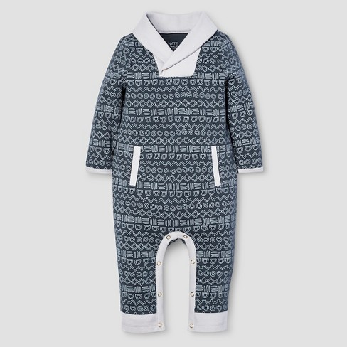Baby Boys' Long Sleeve Romper Nate Berkus™ - Graphite - image 1 of 1
