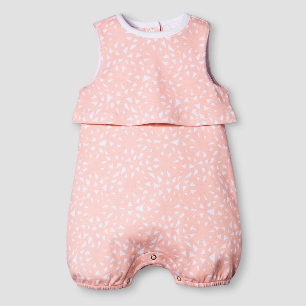 Baby Girls Sleeveless Romper Nate Berkus - Peach/White 24M, Size: 24 M, Pink