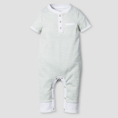 Baby Boys' Short Sleeve Romper Nate Berkus™ - White/Sage 0-3M