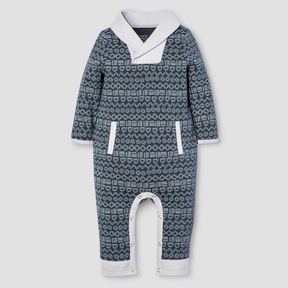 Baby Boys Long Sleeve Romper Nate Berkus - Graphite 18M, Size: 18 M, Blue