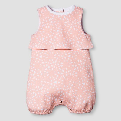 Baby Girls' Sleeveless Romper Nate Berkus™ - Peach/White 0-3M
