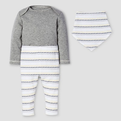 Baby 3-Piece Bodysuit, Pants & Bib Set Nate Berkus™ - Heather Gray 3-6M