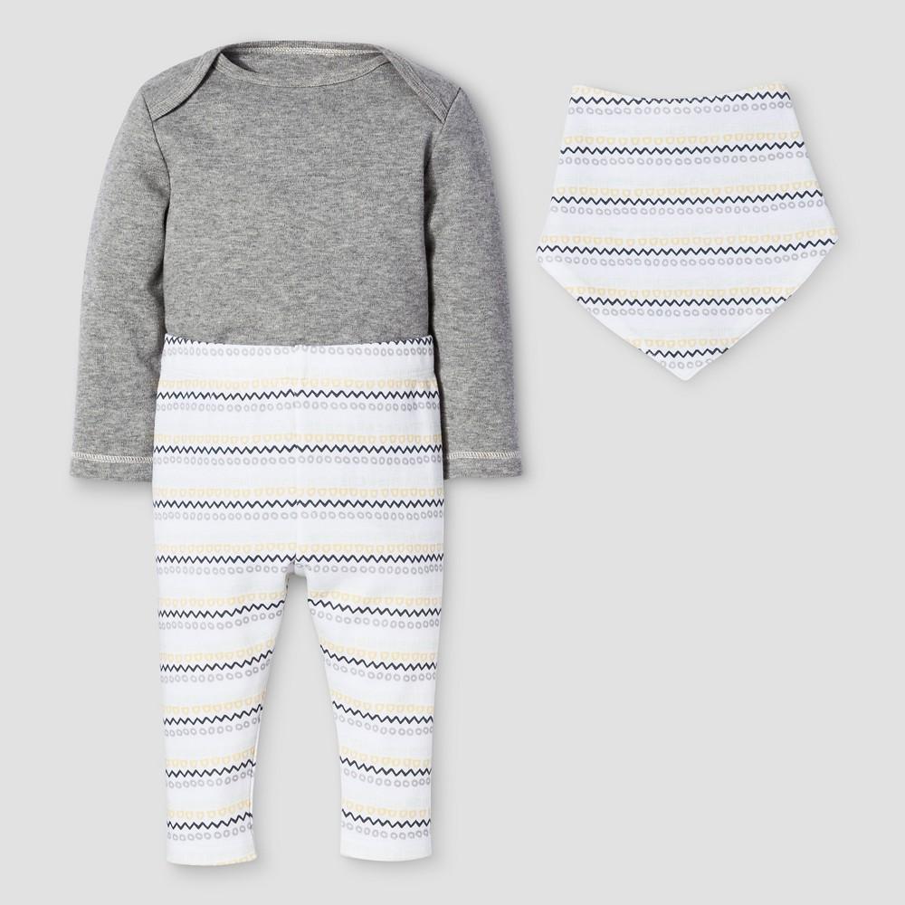 Baby 3-Piece Bodysuit, Pants & Bib Set Nate Berkus - Heather Gray 3-6M, Infant Unisex, Size: 3-6 M