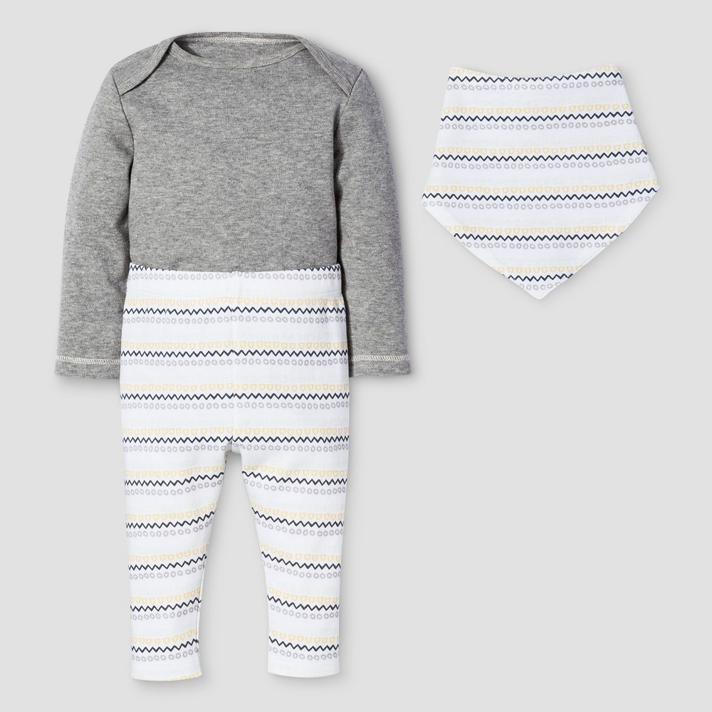 Baby 3-Piece Bodysuit, Pants & Bib Set Nate Berkus - Heather Gray 6-9M, Infant Unisex, Size: 6-9 M