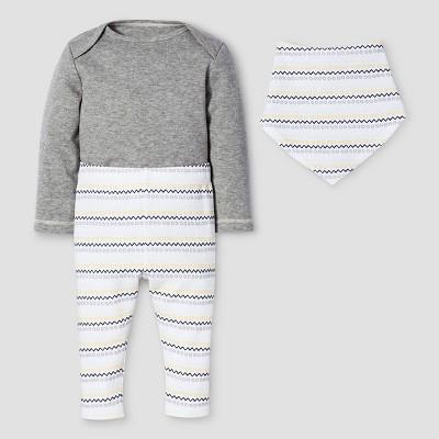 Baby 3-Piece Bodysuit, Pants & Bib Set Nate Berkus™ - Heather Gray 12M