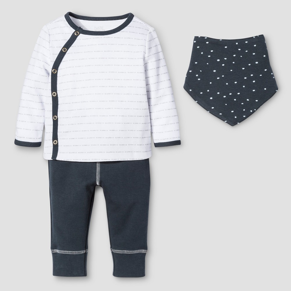 Baby Boys 3-Piece Top, Pants & Bib Set Nate Berkus - Graphite/White 18M, Size: 18 M, Blue