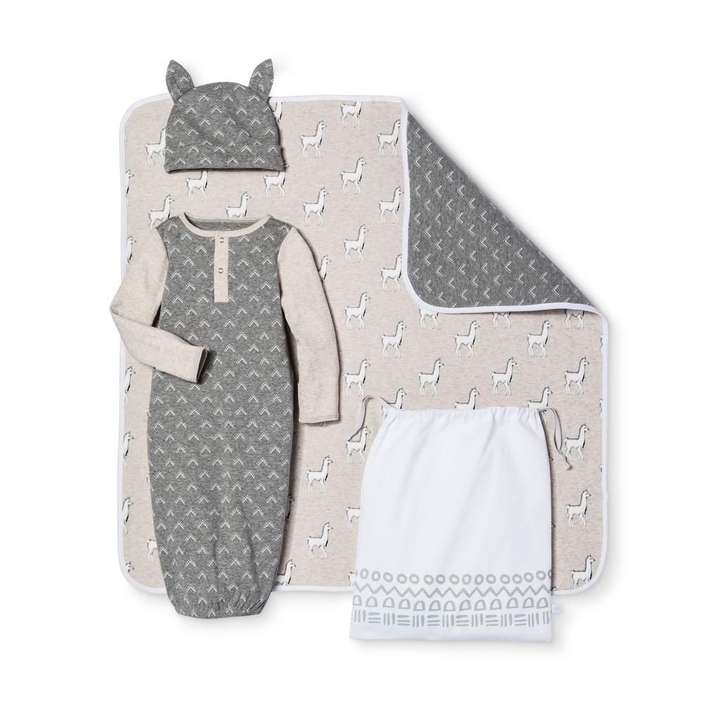 Baby 4-Piece Gown, Hat, Blanket & Bag Set Nate Berkus - Heather Gray/Oatmeal 0-3M, Infant Unisex, Size: 0-3 M