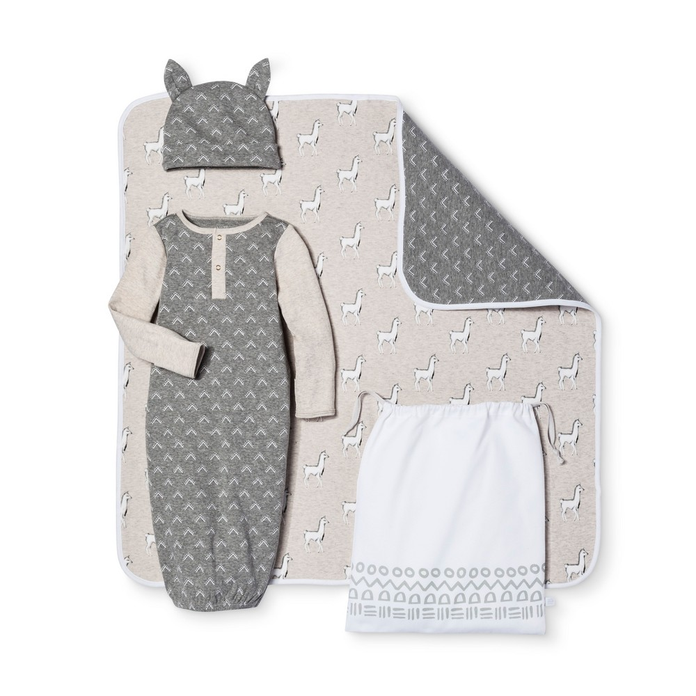 Baby 4-Piece Gown, Hat, Blanket & Bag Set Nate Berkus - Heather Gray/Oatmeal 3-6M, Infant Unisex, Size: 3-6 M