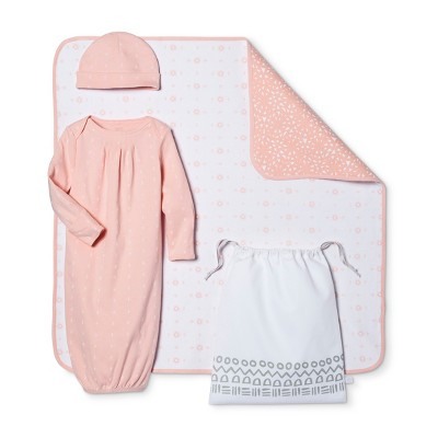 Baby Girls' 4-Piece Gown, Hat, Blanket & Bag Set Nate Berkus™ - Peach/White 0-3M