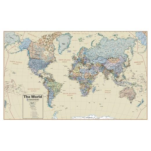 Round World Hemispheres Boardroom Series WorldUSA Wall Laminated - Usa on a world map