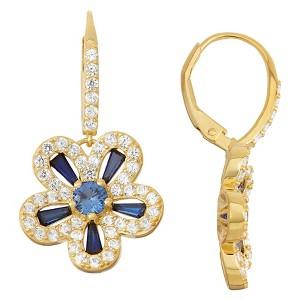 2 2/3 Tcw Tiara Gold Over Silver Sapphire Halo Flower Leverback Earrings, Women