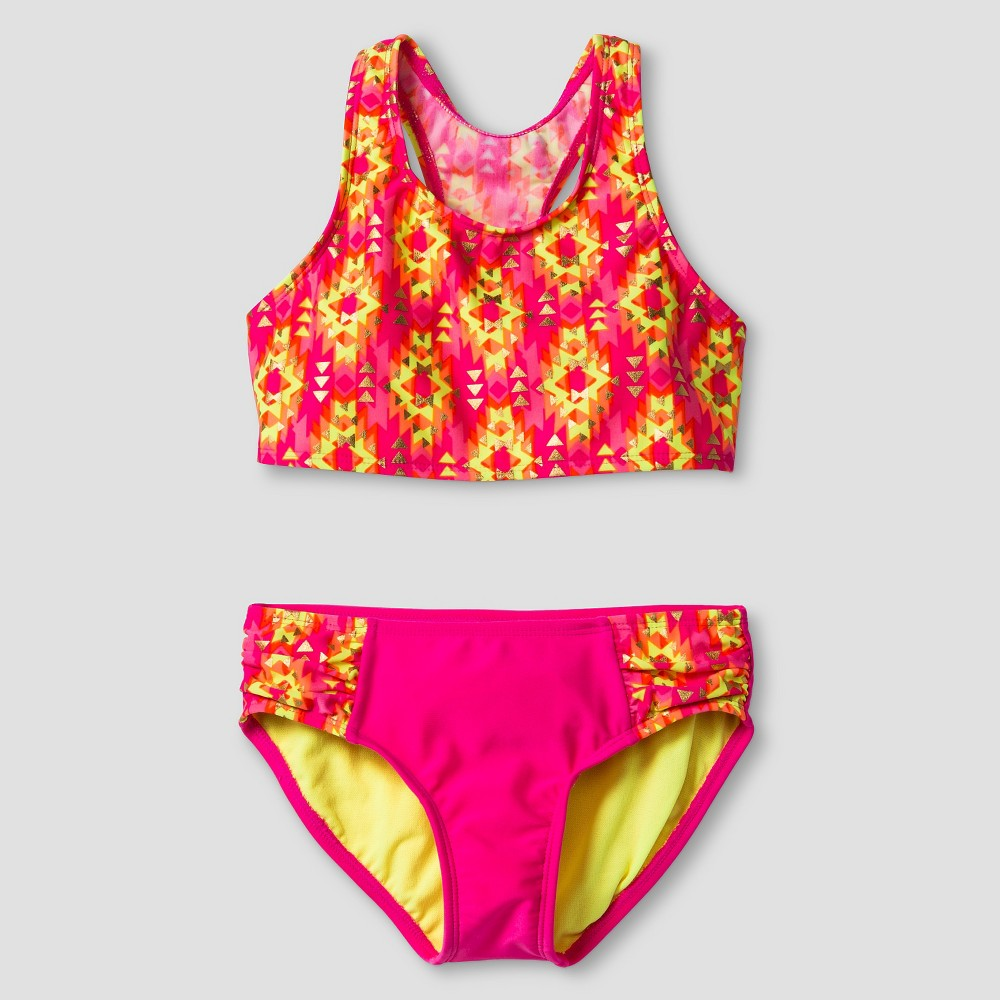 Girls High Neck Tankini Set - Xhilaration Pink XL