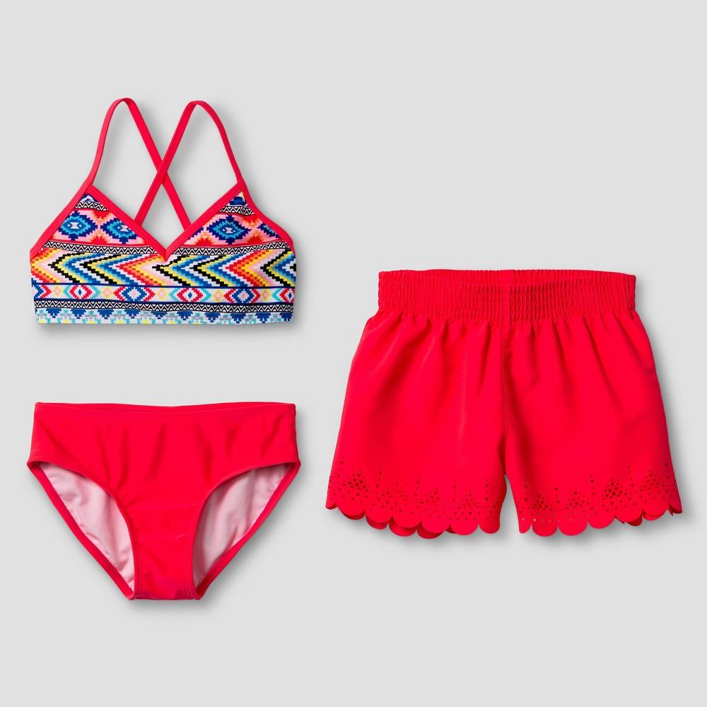 Girls Tribal Print Bikini Set with Shorts - Xhilaration Pink XS, Multicolored