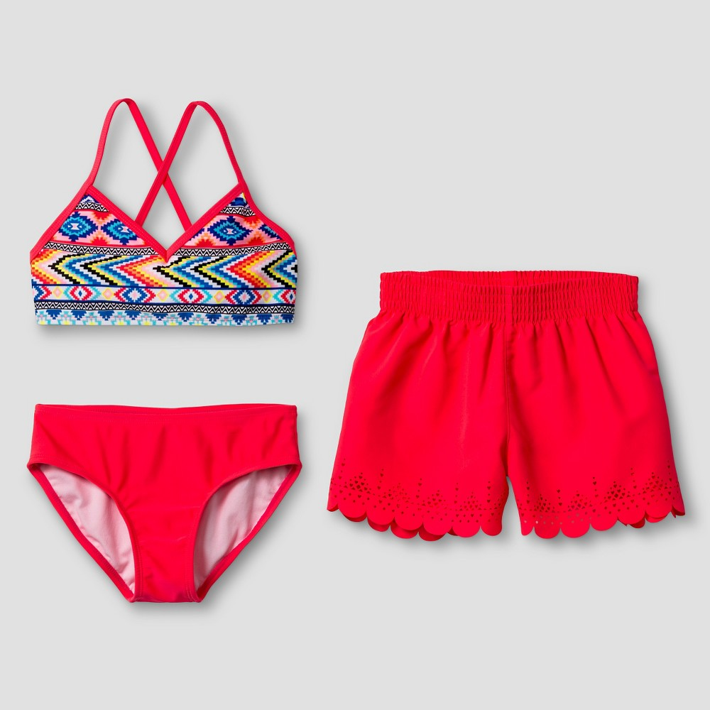 Girls Tribal Print Bikini Set with Shorts - Xhilaration Pink L, Multicolored