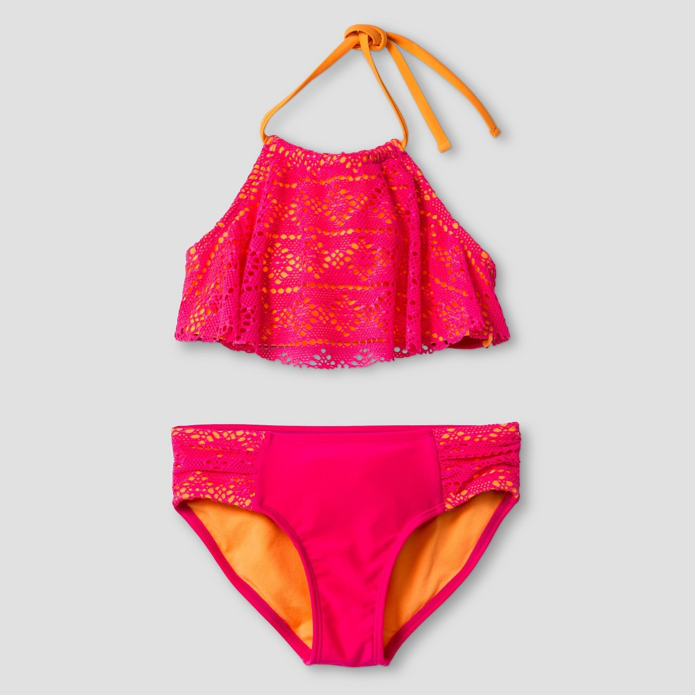 Girls Flounce Lace Bikini Set - Cat & Jack Pink/Orange L