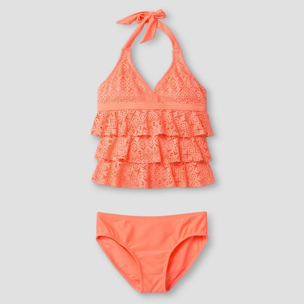 Girls Crochet Ruffle Tankini - Cat & Jack Orange M