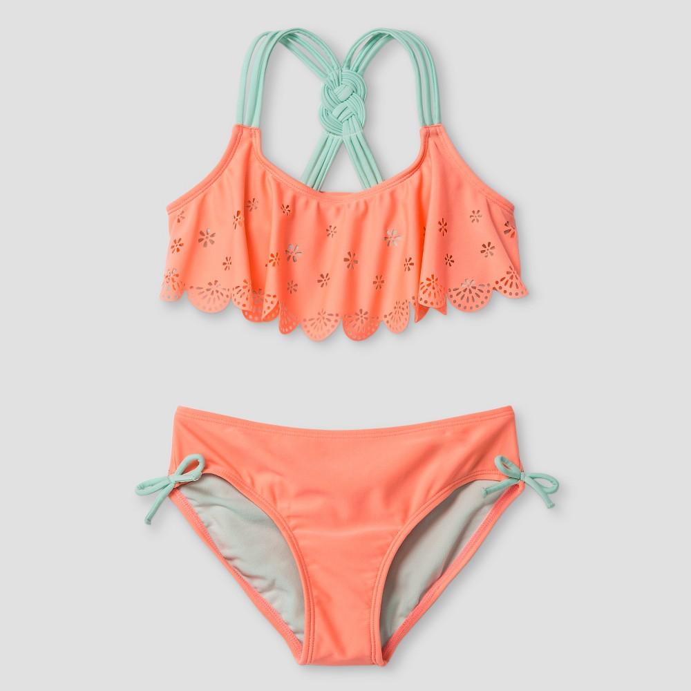 Girls Eyelet Flounce Bikini - Cat & Jack Orange S