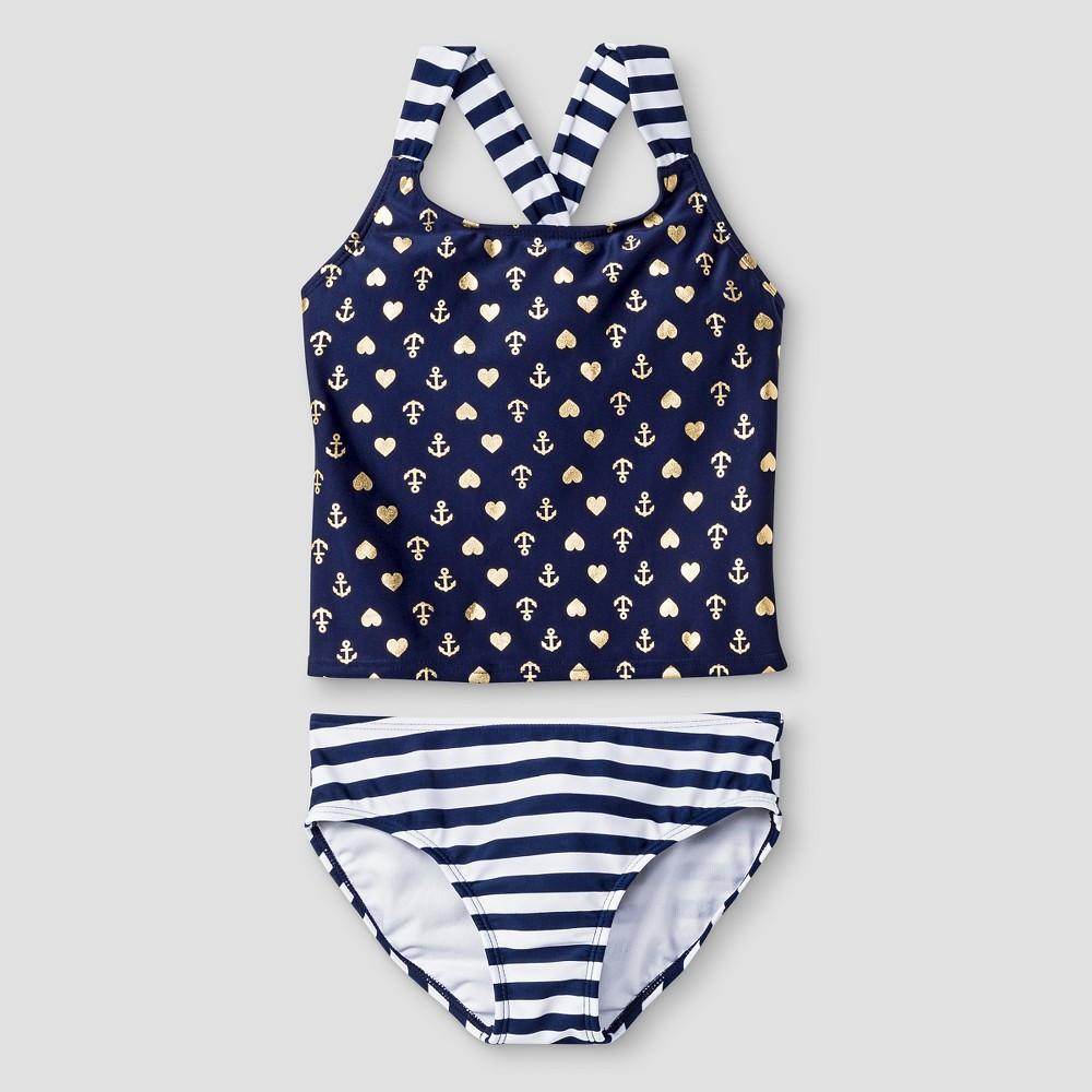 Girls Sailor Foil Print Tankini - Cat & Jack Blue XS
