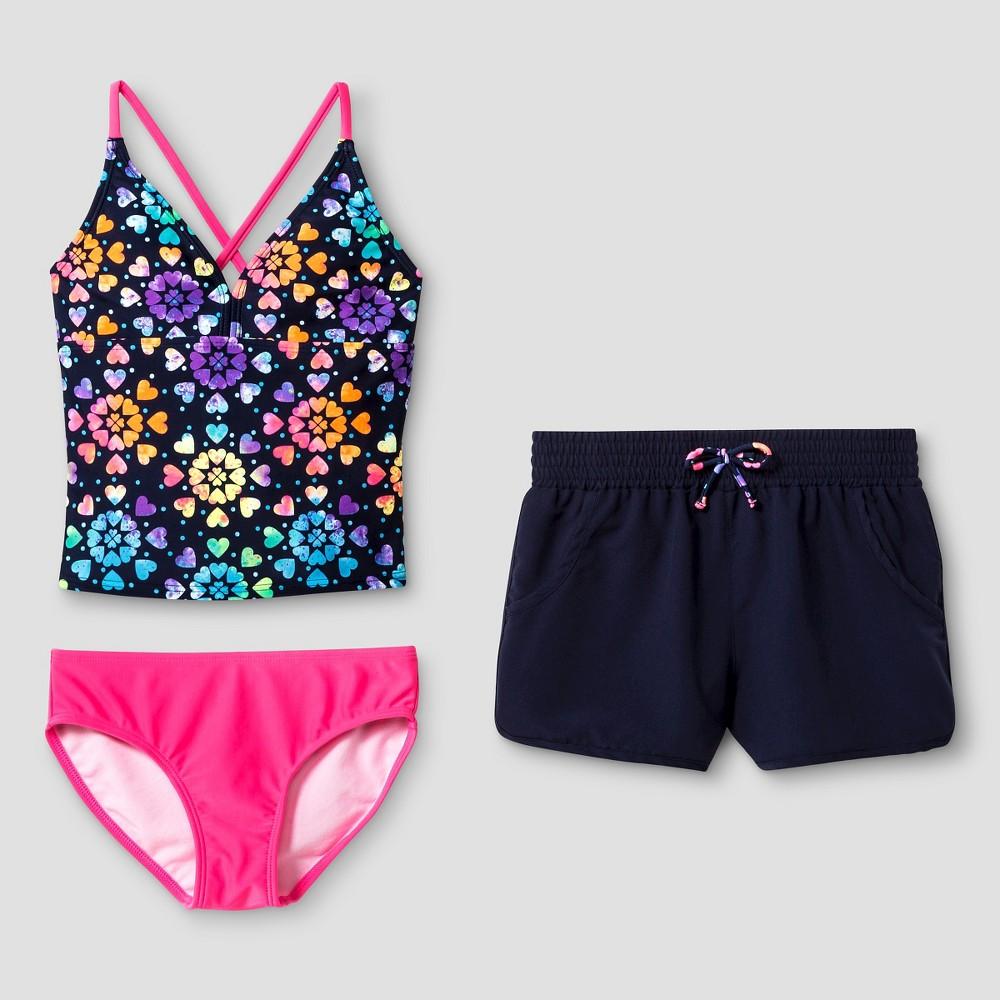 Girls Rainbow Heart Printed Tankini - Cat & Jack Navy XL, Blue