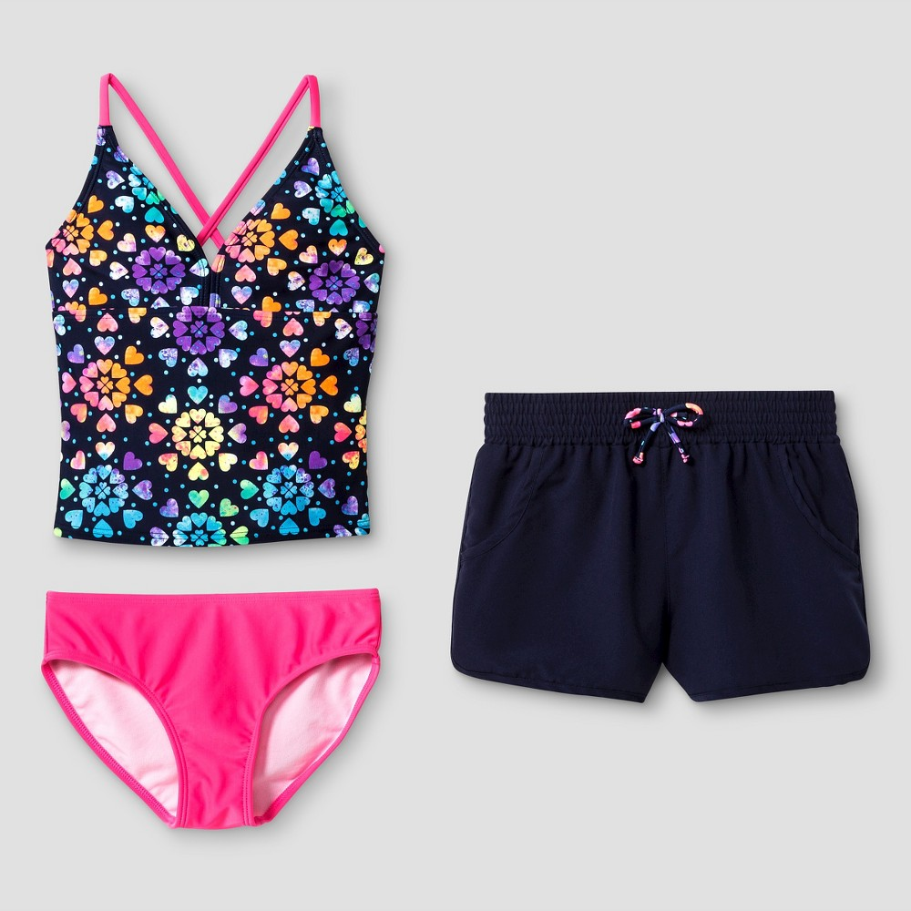 Girls Rainbow Heart Printed Tankini - Cat & Jack Navy XS, Blue