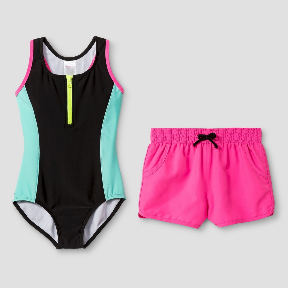 Girls Sporty One Piece Swimsuit With Shorts - Xhilaration Multicolor XS, Black