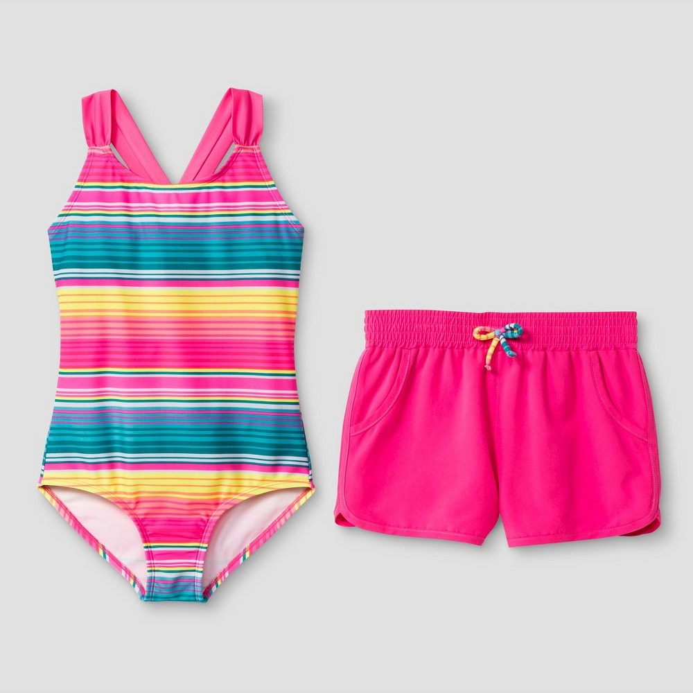 Girls Striped One Piece Swimsuit with Shorts - Cat & Jack Pink XS