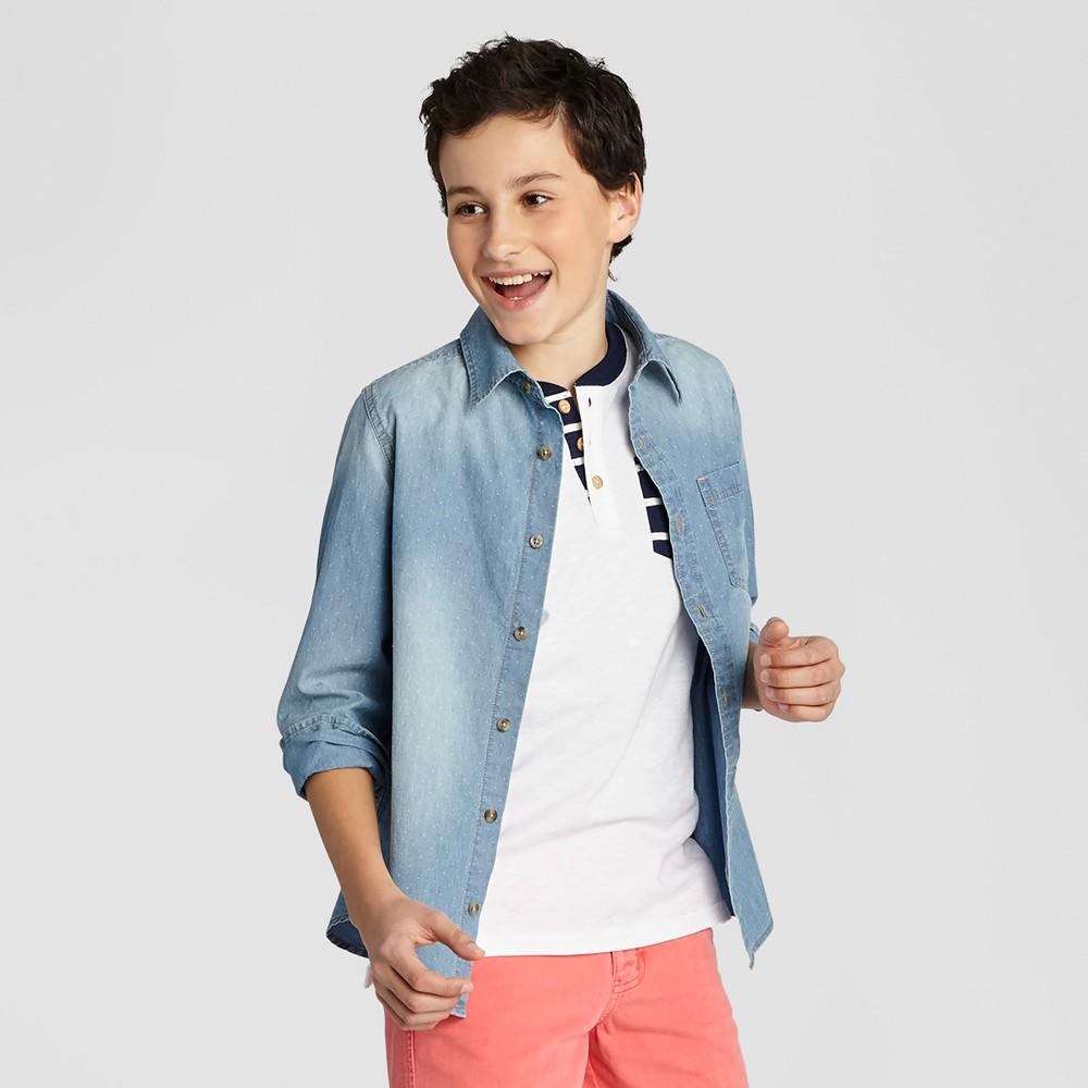 Boys Button Down Denim Shirt - Cat & Jack Light Indigo XL Husky, Blue