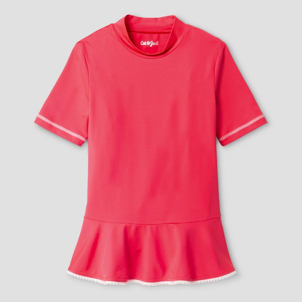 Girls Peplum Short Sleeve Rashguard swimwear - Cat & Jack Coral L, Pink
