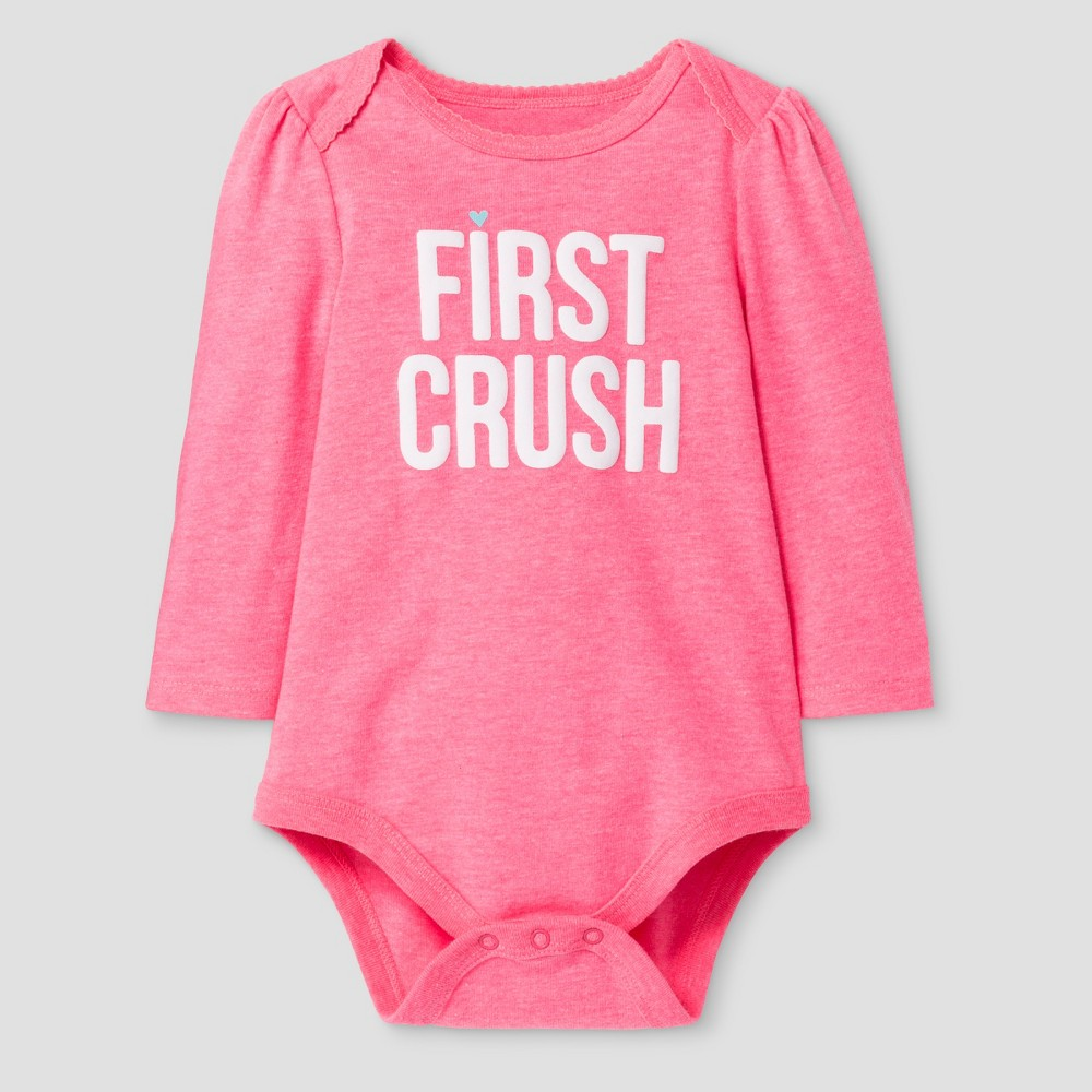 Baby Girls' Long-Sleeve First Crush Bodysuit Baby Cat & Jack – Coral NB, Infant Girl's, Pink
