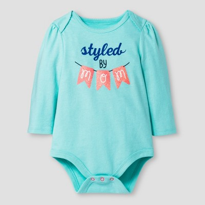 Baby Girls' Long-Sleeve Styled by Mom Bodysuit Baby Cat & Jack™ - Aqua 3-6 M