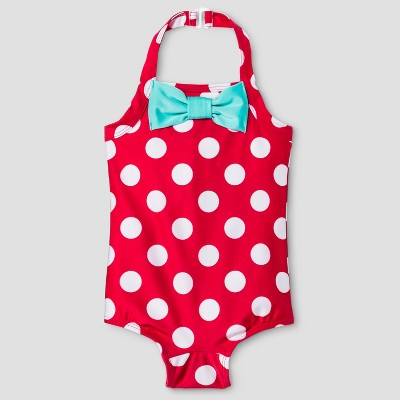 Baby Girls' Polka Dot Halter One Piece Swimsuit - Cat & Jack™ Red 9M