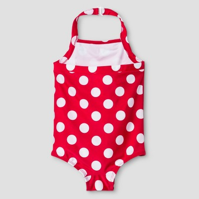 Toddler Girls' Polka Dot 1-Piece Halter Swimsuit Cat & Jack - Red 4T, Toddler Girl's