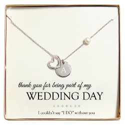Monogram Wedding Day Open Heart Charm Silver Party Necklace