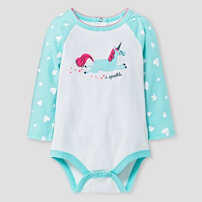 Baby Girls' Long-Sleeve Unicorn Bodysuit Baby Cat & Jack™ - White/Aqua 6-9 M