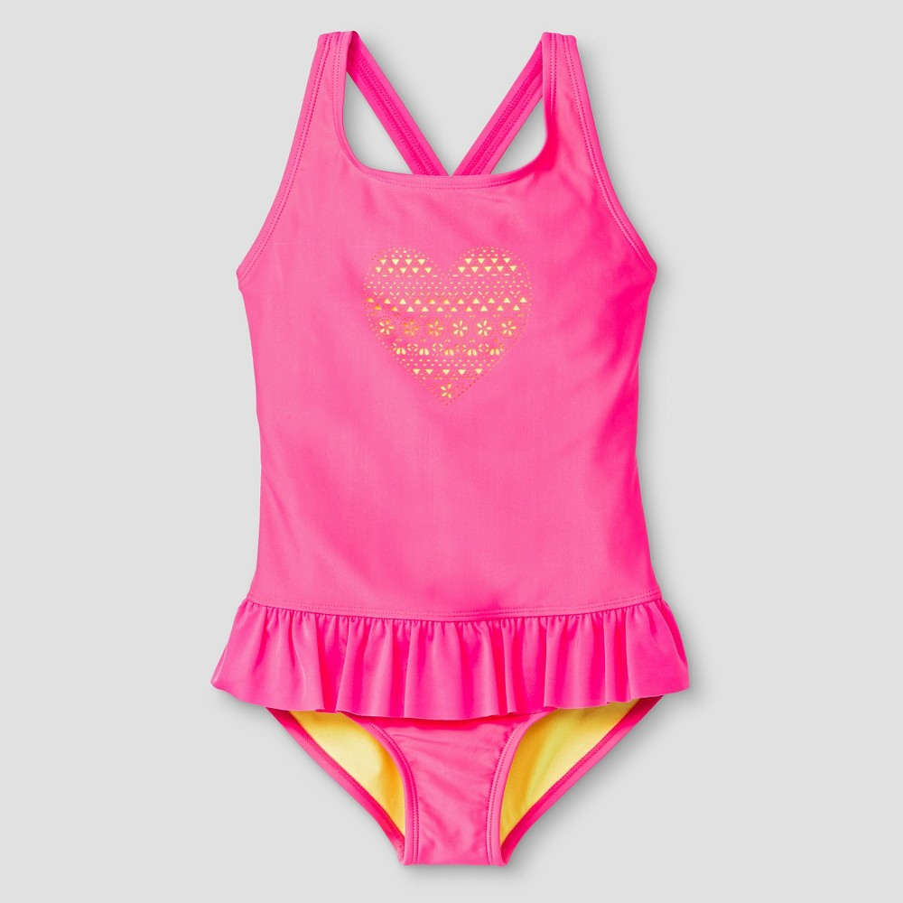 Girls One Piece Swimsuit Heart Cutout - Cat & Jack Pink L